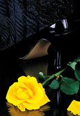 Still life with a yellow rose and shoes woman — Stock Photo