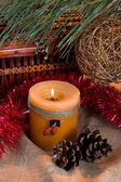 Christmas still life with candle — Stok fotoğraf