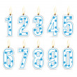 Stock Vector: Numeral birthday candles boy