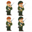 Set of soldiers — Stock Vector