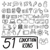 Fifty one education icons — Stock Vector