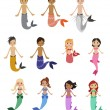 Stock Vector: Mermaids