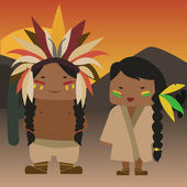 Cartoon native american couple vector — Stockvektor