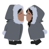 Eskimo couple vector — Vector de stock