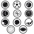 Stock Vector: Sports icons black and white vector