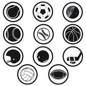 Sports icons black and white vector — Stock Vector