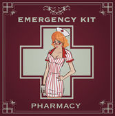 Vintage emergency kit poster — Stock Vector