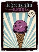 Blueberry ice cream — Stock Vector