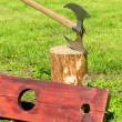 Executioner's ax and a wooden shackles — Stock Photo