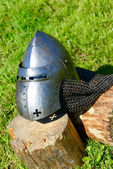 Medieval knight helmet — Stock Photo