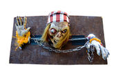 Pirate skeleton on the shackles — Stock Photo