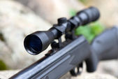 Pneumatic air rifle with optical sight — Stock Photo