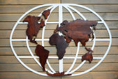 World map carved on wooden tablets — Stock Photo