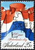 Dutch flag on a post stamp — Stock Photo