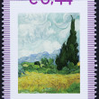Stamp with painted tree by vincent van gogh — Stock Photo