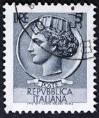 Portrait on a postage stamp — Stock Photo