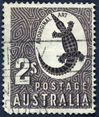 Crocodil on post stamp — Foto Stock