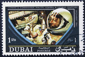 Vintage stamp in space — Stock Photo