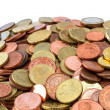 Pile of Euro coins sideview — Stock Photo