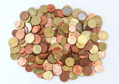 Pile of Euro coins top view — Stockfoto