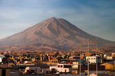 Volcano Misti with Arequipa in Peru closer — Stock Photo