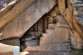Machu picchu chamber under the temple of the sun in HDR — Stock Photo
