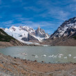 Cerro Torre from to the laguna PANORAMA — Stock Photo