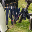 Trekking gloves and socks for drying beside the tent — Stockfoto