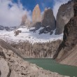 Torres del paine in Chilean National Park with lake — Stock Photo