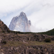 Mount Fitz Roy view from El Chalten silhouette — Stock Photo