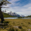 Trekking road to Fitz Roy with women trekking — Stock Photo
