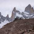 Stock Photo: Mount Fitz Roy trekking direct under the lake