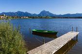 Panorama des alpes avec lac, piste et bateau — Photo