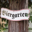 Biergarten sign in Germany - Stock Photo