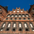 图库照片: Holstentor Luebeck from underneath