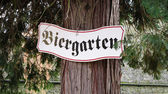 Biergarten sign in Germany — Stock Photo