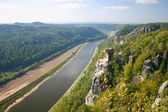 Bastei with Elbe river in Saxony — Stock Photo