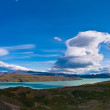 Lago Nordenskjoeld Torres del Paine Chile Panorama great clouds — Stock Photo