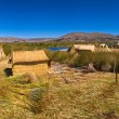 Titicaca lake Peru Uro huts on floating island PANORAMA — Stock Photo