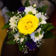 Stock Photo: Yellow rose bouquet for marriage in hand