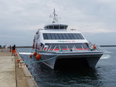 Halunder Jet catamaran on its way to Helgoland harbour — Stock Photo