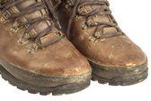Vecchio usato scarponcini da trekking isolato su bianco con tracciato di ritaglio — Foto Stock