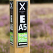 Heathland in northern Germany hiking sign close to the Ems spring — Stock Photo