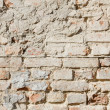 Bedraggled brick wall in dusted yellow detail — Stock Photo