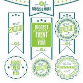 Set sommer veranstaltungen verwandte vintage etiketten — Stockvektor