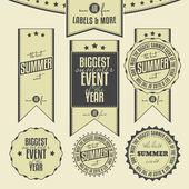набор из летних событий связанных старинные этикетки — Cтоковый вектор