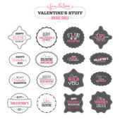 Set of Valentines day vintage labels — ストックベクタ