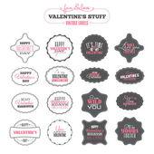Set of Valentines day vintage labels — Stock Vector