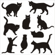 Stock Vector: Silhouettes of cats