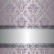 Stock Vector: Violet & silver vintage wallpaper